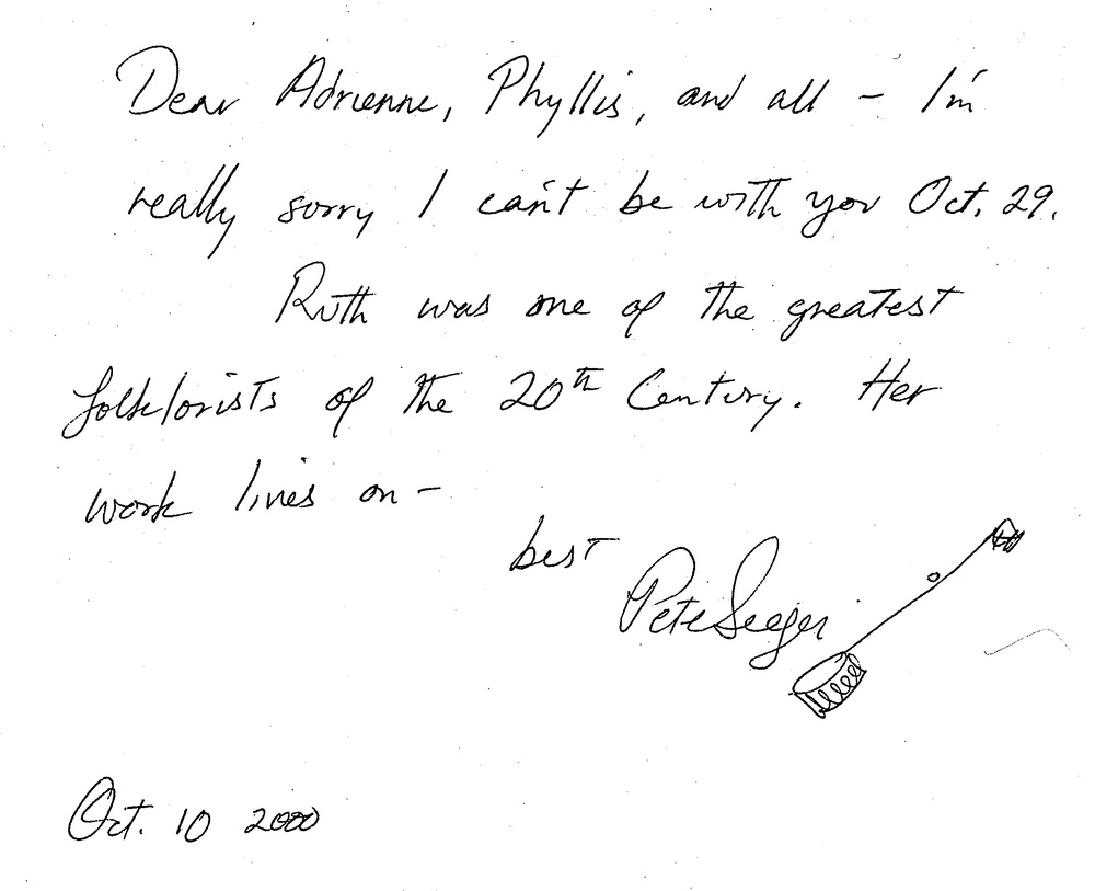 Note From Pete Seeger to Adrienne Cooper and Phyllis Berk