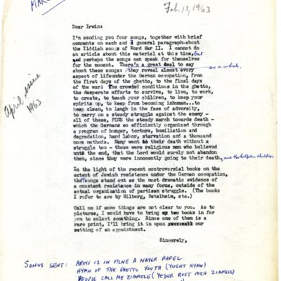 "Letter to Irwin Silber, editor of ""Sing Out"", Feb. 13, 1963"